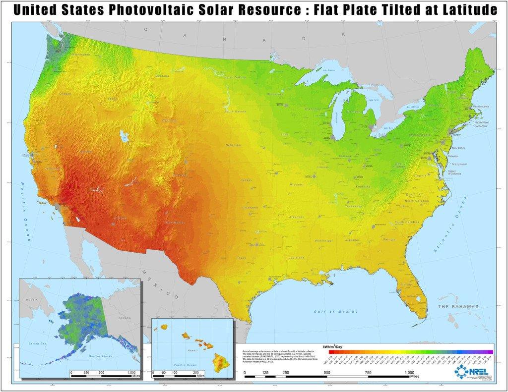 NREL solar resource map