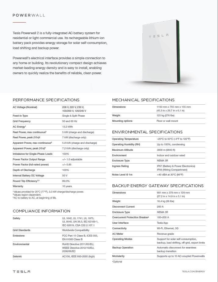 Tesla Powerwall 2 0 Specs Ac Brilliant Harvest 941